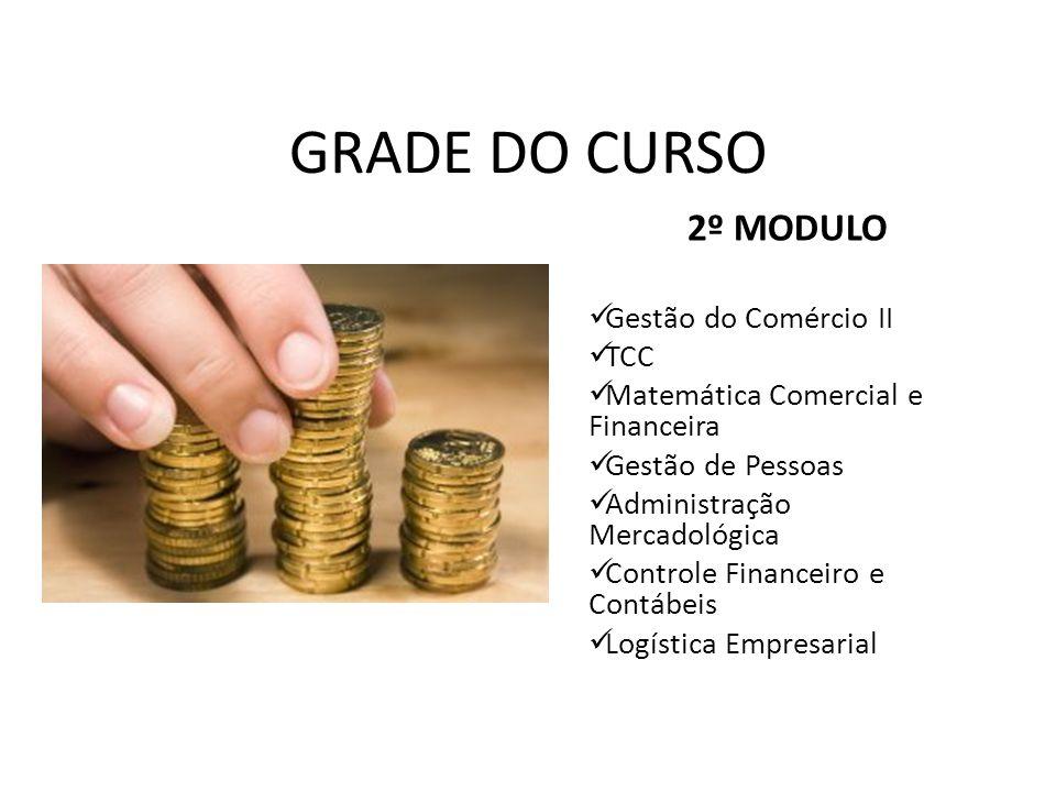 GRADE DO CURSO 2º MODULO Gestão do Comércio II TCC Matemática Comercial e Financeira Gestão de Pessoas Administração Mercadológica Controle Financeiro