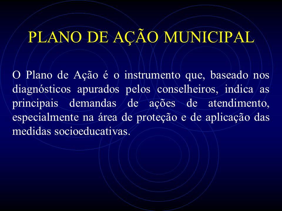 PLANO DE AÇÃO MUNICIPAL O Plano de Ação é o instrumento que, baseado nos diagnósticos apurados pelos conselheiros, indica as principais demandas de aç