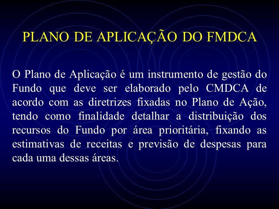 PLANO DE APLICAÇÃO DO FMDCA O Plano de Aplicação é um instrumento de gestão do Fundo que deve ser elaborado pelo CMDCA de acordo com as diretrizes fix