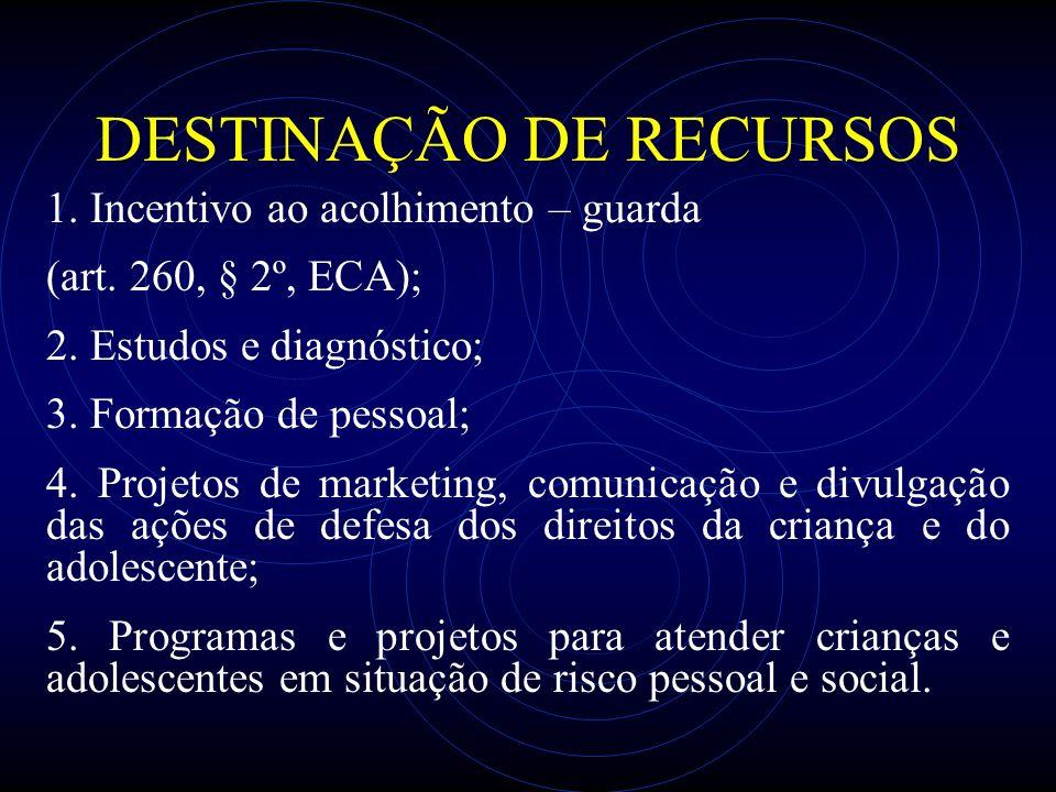 DESTINAÇÃO DE RECURSOS 1. Incentivo ao acolhimento – guarda (art. 260, § 2º, ECA); 2. Estudos e diagnóstico; 3. Formação de pessoal; 4. Projetos de ma