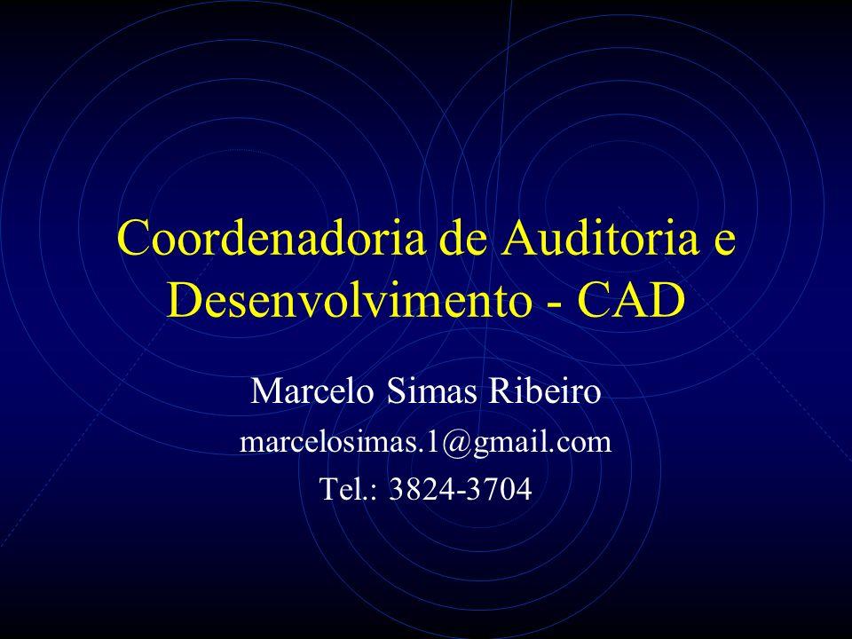 Coordenadoria de Auditoria e Desenvolvimento - CAD Marcelo Simas Ribeiro marcelosimas.1@gmail.com Tel.: 3824-3704