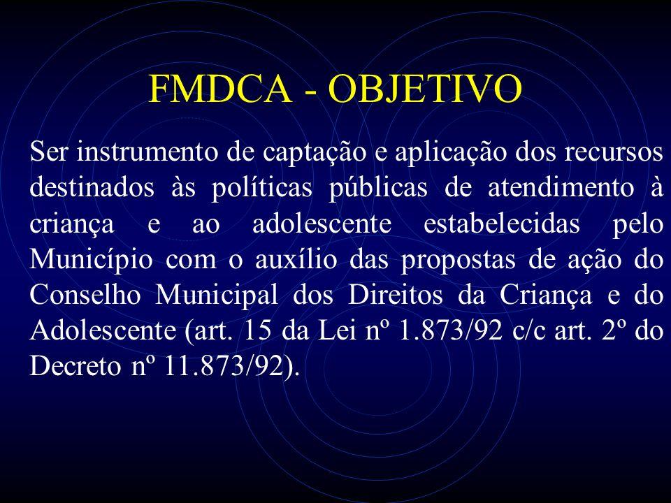 FMDCA - OBJETIVO Ser instrumento de captação e aplicação dos recursos destinados às políticas públicas de atendimento à criança e ao adolescente estab