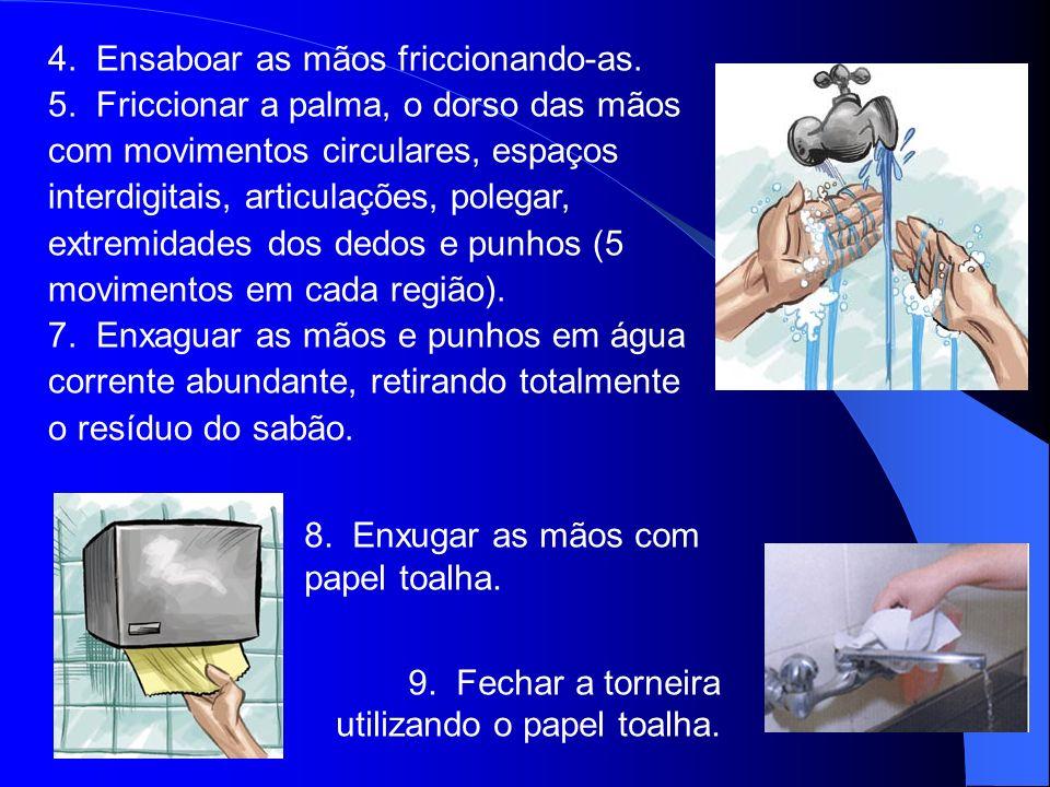 8. Enxugar as mãos com papel toalha. 9. Fechar a torneira utilizando o papel toalha. 4. Ensaboar as mãos friccionando-as. 5. Friccionar a palma, o dor