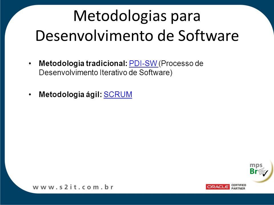 Metodologias para Desenvolvimento de Software Metodologia tradicional: PDI-SW (Processo de Desenvolvimento Iterativo de Software)PDI-SW Metodologia ág