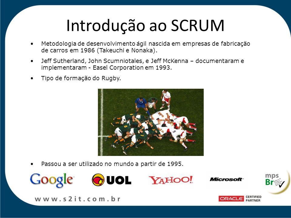 Introdução ao SCRUM Metodologia de desenvolvimento ágil nascida em empresas de fabricação de carros em 1986 (Takeuchi e Nonaka). Jeff Sutherland, John