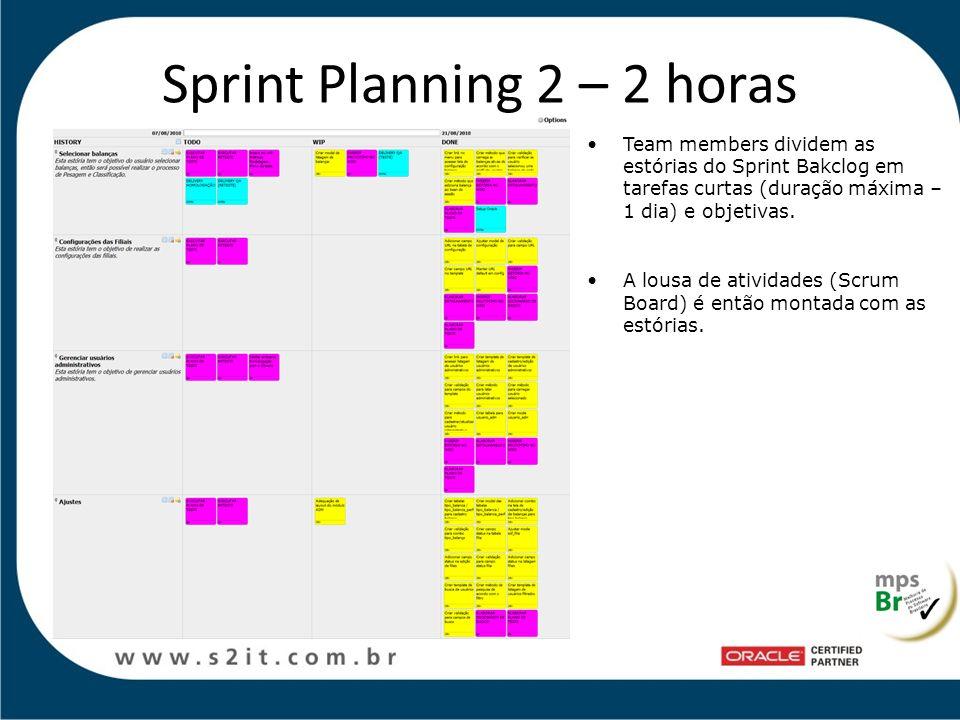 Sprint Planning 2 – 2 horas Team members dividem as estórias do Sprint Bakclog em tarefas curtas (duração máxima – 1 dia) e objetivas. A lousa de ativ
