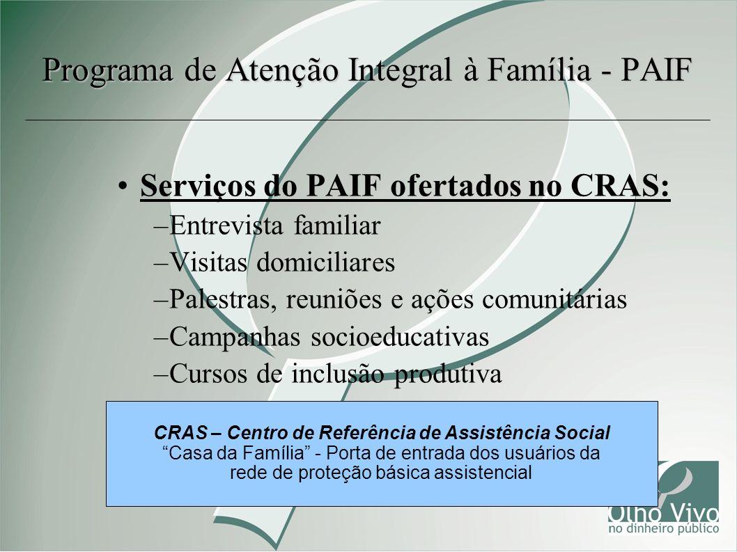 Serviços do PAIF ofertados no CRAS: –Entrevista familiar –Visitas domiciliares –Palestras, reuniões e ações comunitárias –Campanhas socioeducativas –C