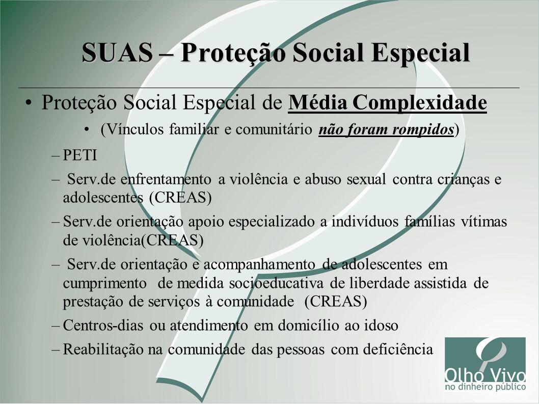 Proteção Social Especial de Média Complexidade (Vínculos familiar e comunitário não foram rompidos) –PETI – Serv.de enfrentamento a violência e abuso