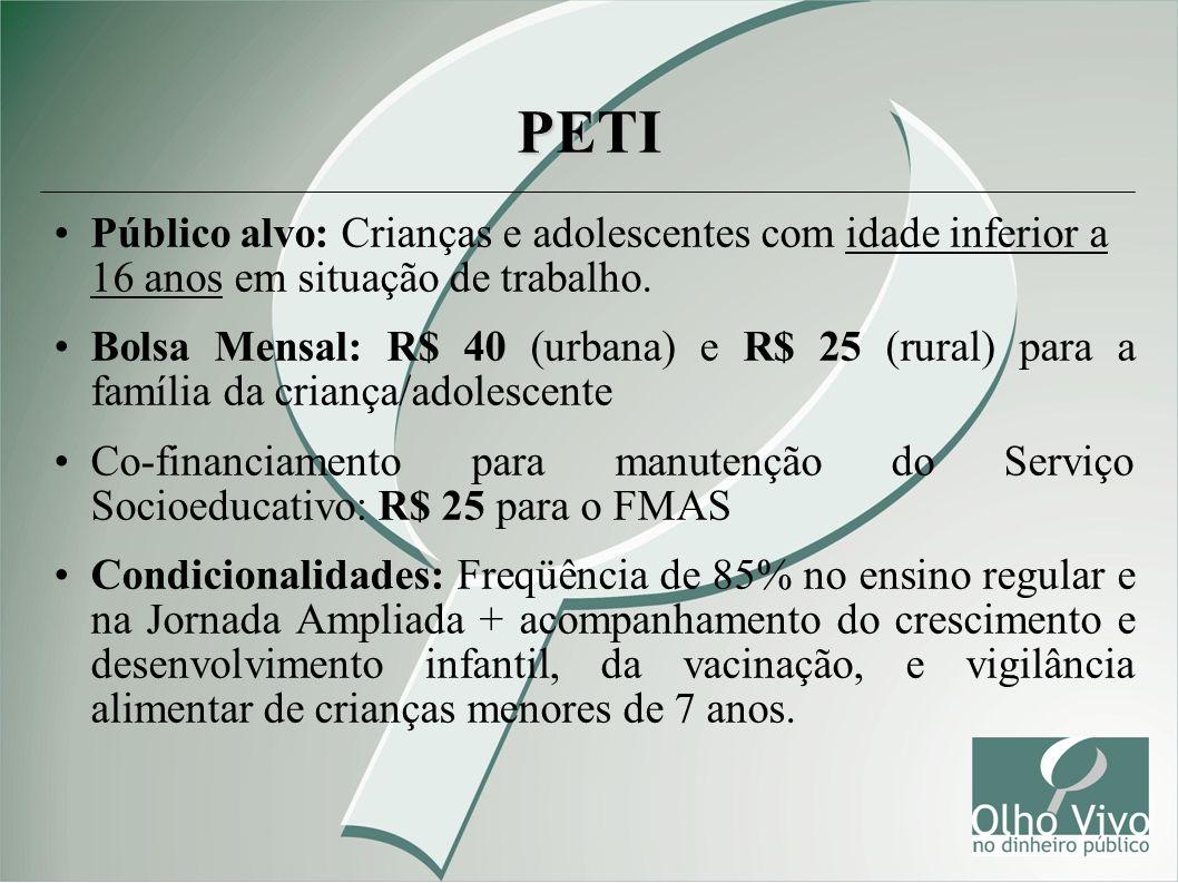 PETI Público alvo: Crianças e adolescentes com idade inferior a 16 anos em situação de trabalho. Bolsa Mensal: R$ 40 (urbana) e R$ 25 (rural) para a f