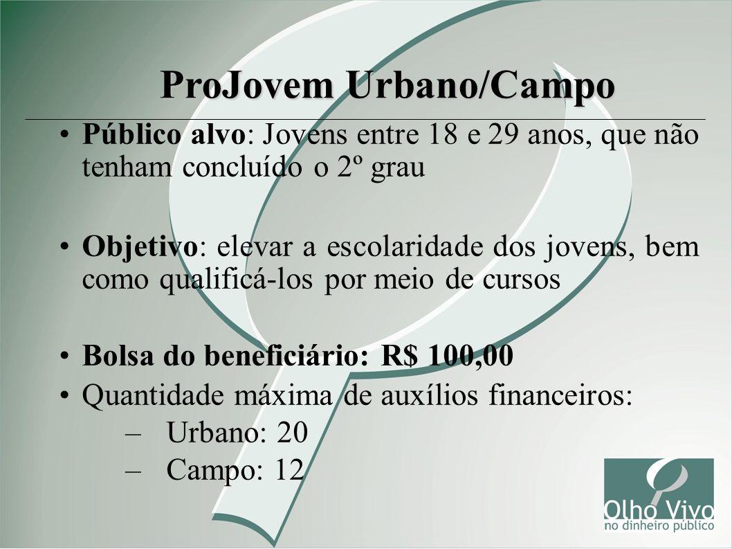 ProJovem Urbano/Campo Público alvo: Jovens entre 18 e 29 anos, que não tenham concluído o 2º grau Objetivo: elevar a escolaridade dos jovens, bem como