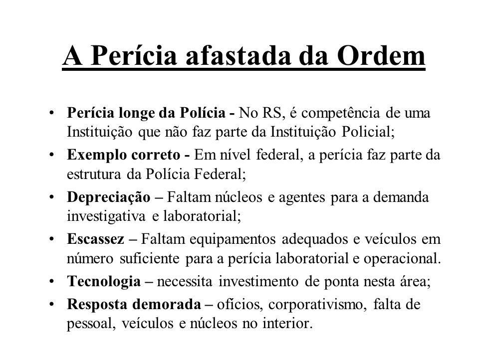 A Perícia afastada da Ordem Perícia longe da Polícia - No RS, é competência de uma Instituição que não faz parte da Instituição Policial; Exemplo corr