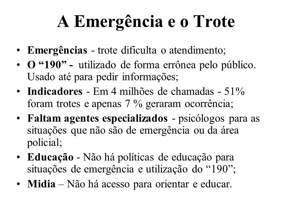 A Emergência e o Trote Emergências - trote dificulta o atendimento; O 190 - utilizado de forma errônea pelo público. Usado até para pedir informações;