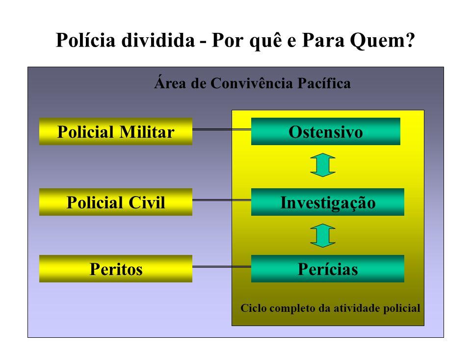 Polícia dividida - Por quê e Para Quem? Policial Civil Policial Militar Peritos Investigação Ostensivo Perícias Ciclo completo da atividade policial Á