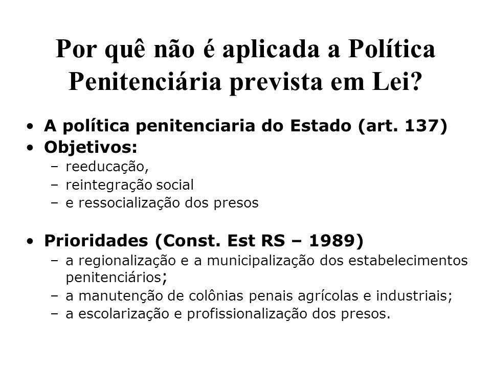 Por quê não é aplicada a Política Penitenciária prevista em Lei? A política penitenciaria do Estado (art. 137) Objetivos: –reeducação, –reintegração s