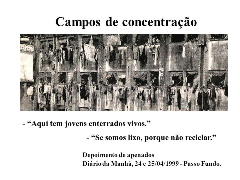 Campos de concentração Depoimento de apenados Diário da Manhã, 24 e 25/04/1999 - Passo Fundo. - Aqui tem jovens enterrados vivos. - Se somos lixo, por