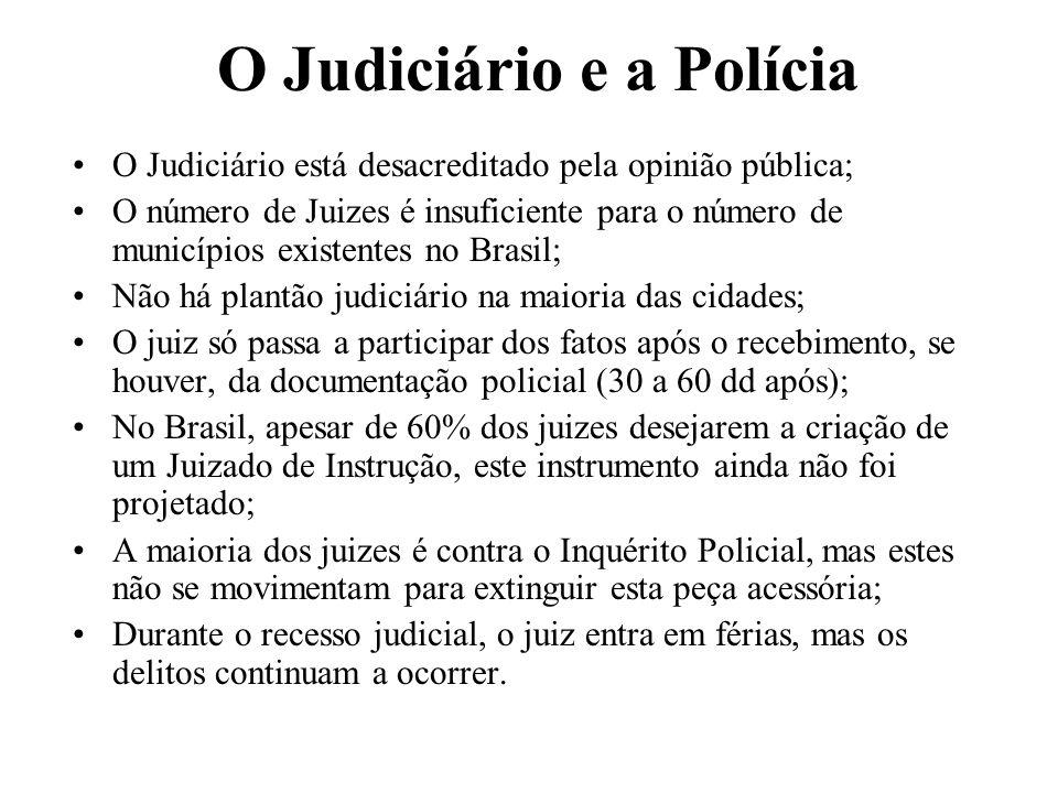 O Judiciário e a Polícia O Judiciário está desacreditado pela opinião pública; O número de Juizes é insuficiente para o número de municípios existente
