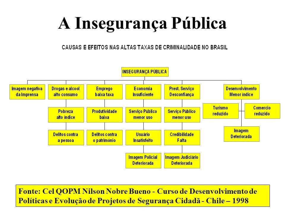 A Insegurança Pública Fonte: Cel QOPM Nilson Nobre Bueno - Curso de Desenvolvimento de Políticas e Evolução de Projetos de Segurança Cidadã - Chile –