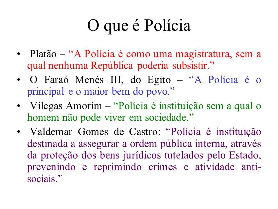 O que é Polícia Platão – A Polícia é como uma magistratura, sem a qual nenhuma República poderia subsistir. O Faraó Menés III, do Egito – A Polícia é
