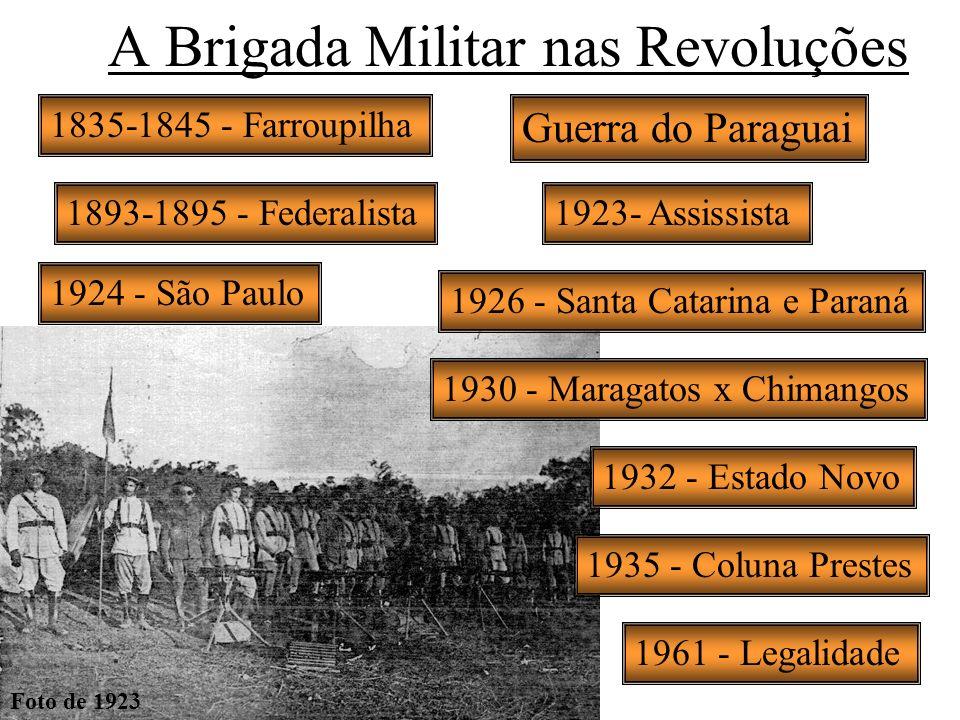 A Brigada Militar nas Revoluções Guerra do Paraguai 1893-1895 - Federalista1923- Assissista 1924 - São Paulo 1926 - Santa Catarina e Paraná 1930 - Mar