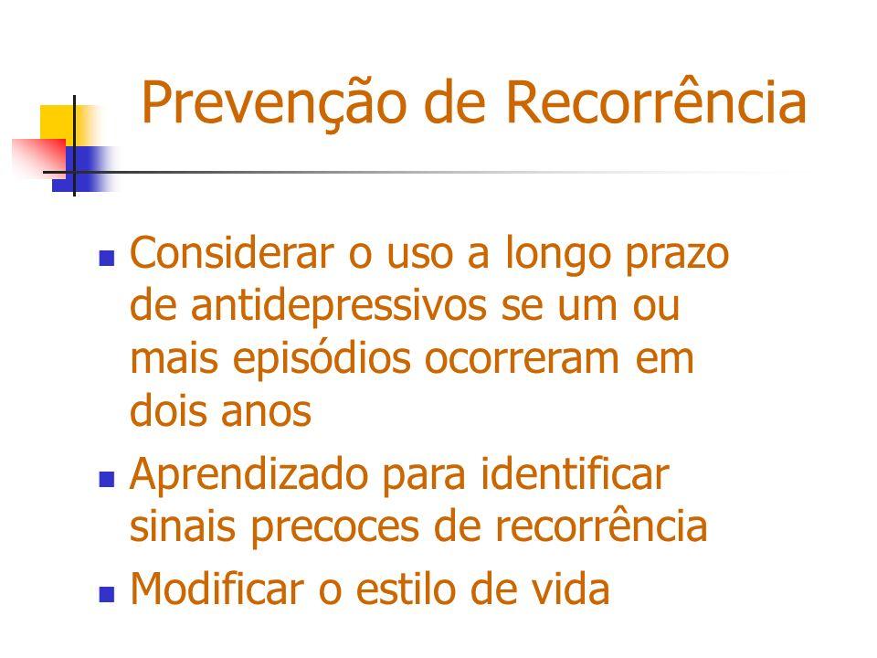 Prevenção de Recorrência Considerar o uso a longo prazo de antidepressivos se um ou mais episódios ocorreram em dois anos Aprendizado para identificar