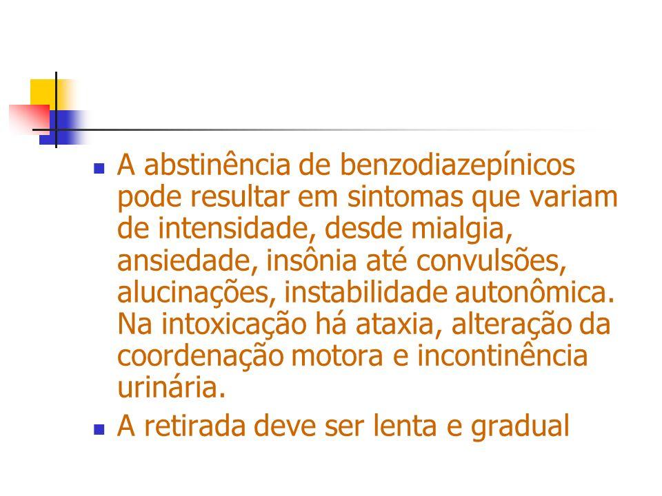 A abstinência de benzodiazepínicos pode resultar em sintomas que variam de intensidade, desde mialgia, ansiedade, insônia até convulsões, alucinações,