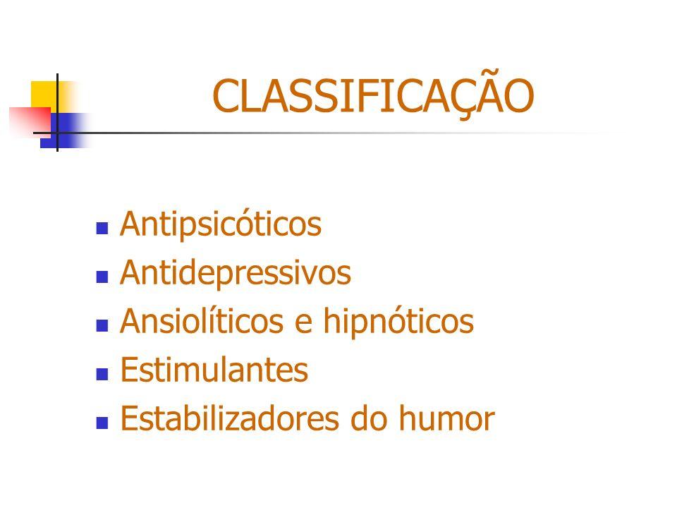 CLASSIFICAÇÃO Antipsicóticos Antidepressivos Ansiolíticos e hipnóticos Estimulantes Estabilizadores do humor