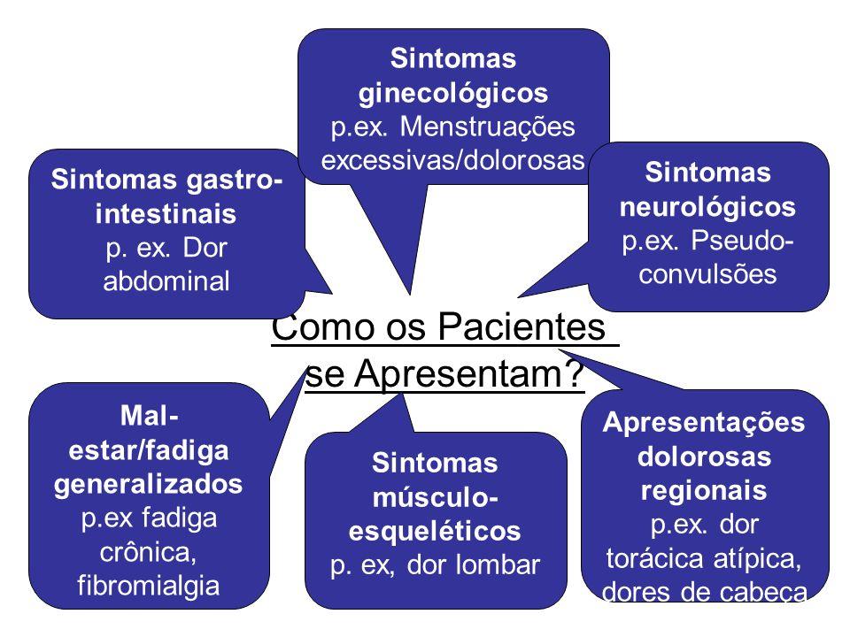 Como os Pacientes se Apresentam? Apresentações dolorosas regionais p.ex. dor torácica atípica, dores de cabeça Sintomas gastro- intestinais p. ex. Dor