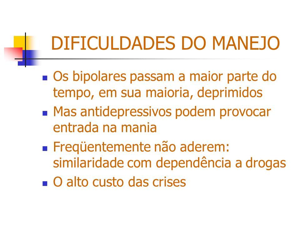 DIFICULDADES DO MANEJO Os bipolares passam a maior parte do tempo, em sua maioria, deprimidos Mas antidepressivos podem provocar entrada na mania Freq