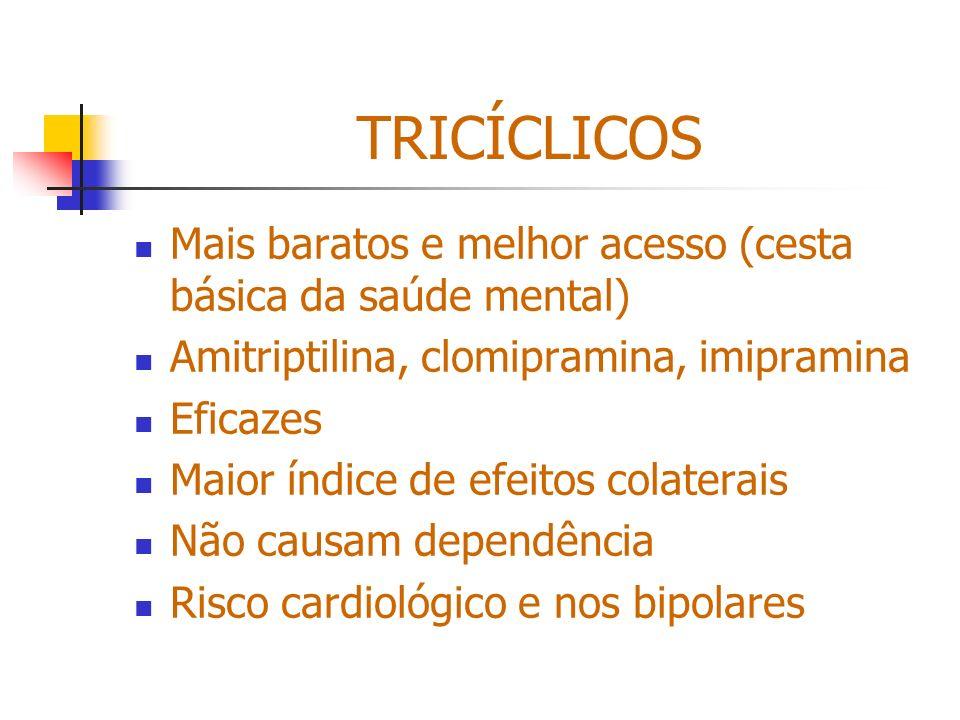 TRICÍCLICOS Mais baratos e melhor acesso (cesta básica da saúde mental) Amitriptilina, clomipramina, imipramina Eficazes Maior índice de efeitos colat