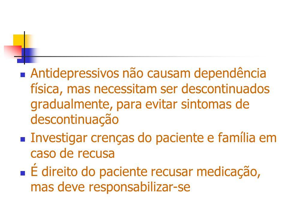 Antidepressivos não causam dependência física, mas necessitam ser descontinuados gradualmente, para evitar sintomas de descontinuação Investigar crenç