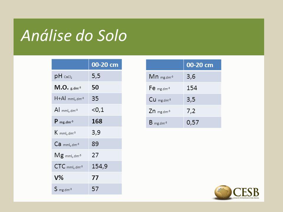Análise do Solo 00-20 cm pH CaCl 2 5,5 M.O. g.dm -3 50 H+Al mml c.dm -3 35 Al mml c.dm -3 <0,1 P mg.dm -3 168 K mml c.dm -3 3,9 Ca mml c.dm -3 89 Mg m