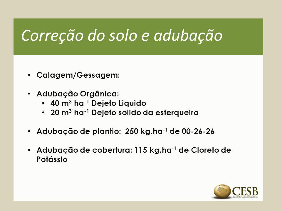 Correção do solo e adubação Calagem/Gessagem: Adubação Orgânica: 40 m 3 ha -1 Dejeto Liquido 20 m 3 ha -1 Dejeto solido da esterqueira Adubação de pla