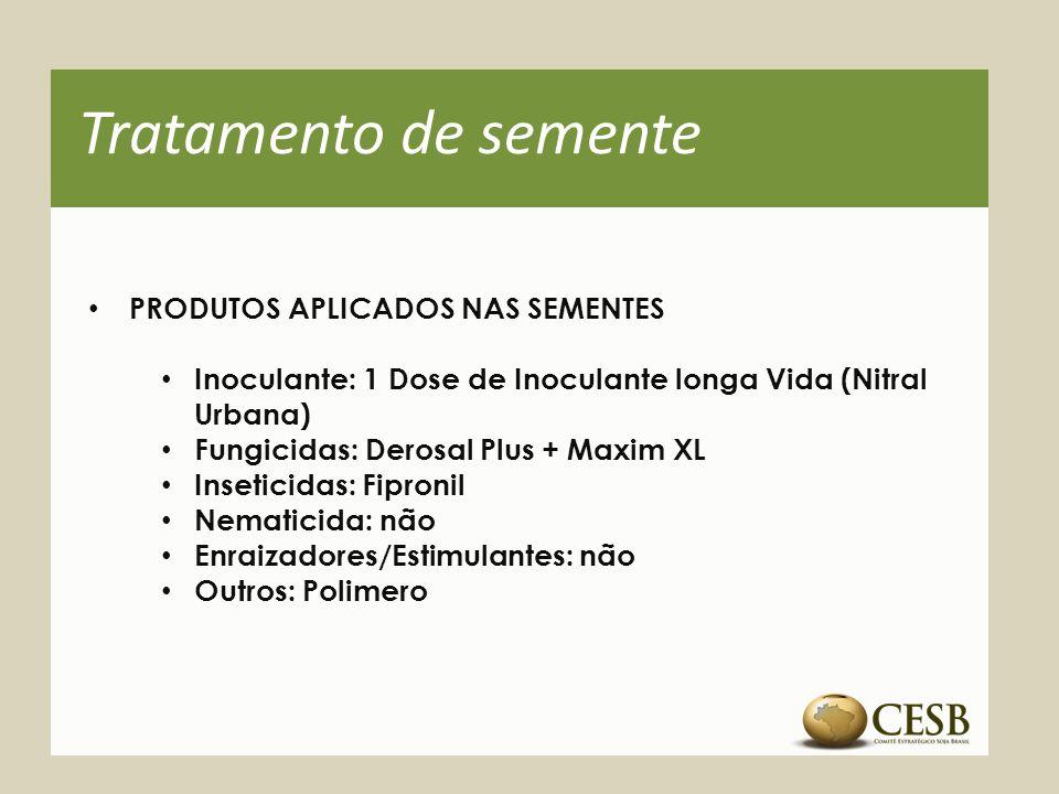 Tratamento de semente PRODUTOS APLICADOS NAS SEMENTES Inoculante: 1 Dose de Inoculante longa Vida (Nitral Urbana) Fungicidas: Derosal Plus + Maxim XL