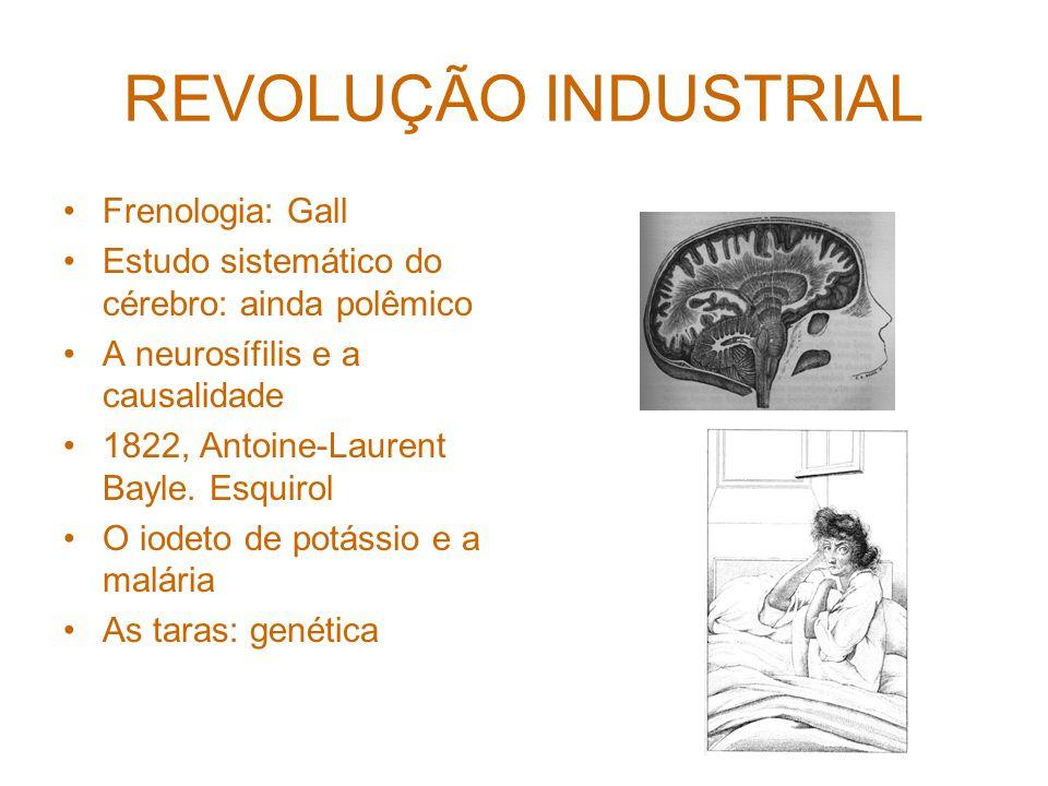 REVOLUÇÃO INDUSTRIAL Frenologia: Gall Estudo sistemático do cérebro: ainda polêmico A neurosífilis e a causalidade 1822, Antoine-Laurent Bayle.