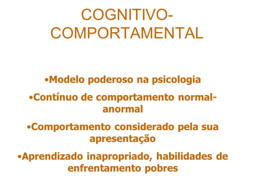 COGNITIVO- COMPORTAMENTAL Modelo poderoso na psicologia Contínuo de comportamento normal- anormal Comportamento considerado pela sua apresentação Aprendizado inapropriado, habilidades de enfrentamento pobres