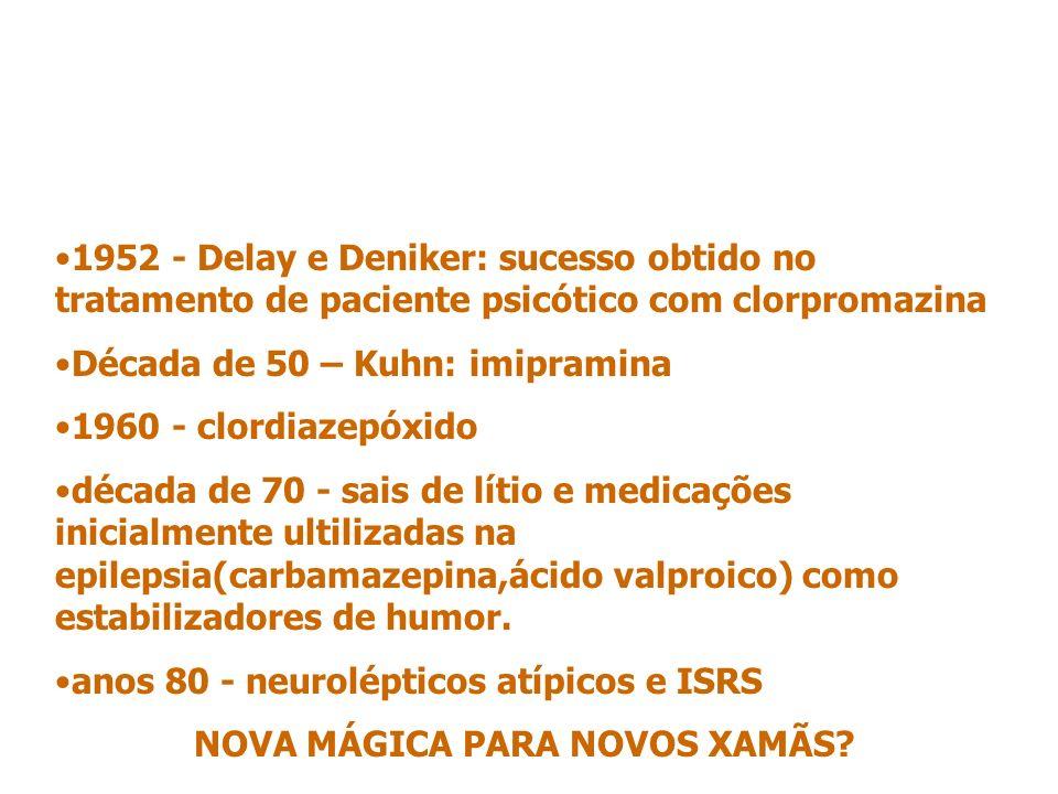 1952 - Delay e Deniker: sucesso obtido no tratamento de paciente psicótico com clorpromazina Década de 50 – Kuhn: imipramina 1960 - clordiazepóxido década de 70 - sais de lítio e medicações inicialmente ultilizadas na epilepsia(carbamazepina,ácido valproico) como estabilizadores de humor.