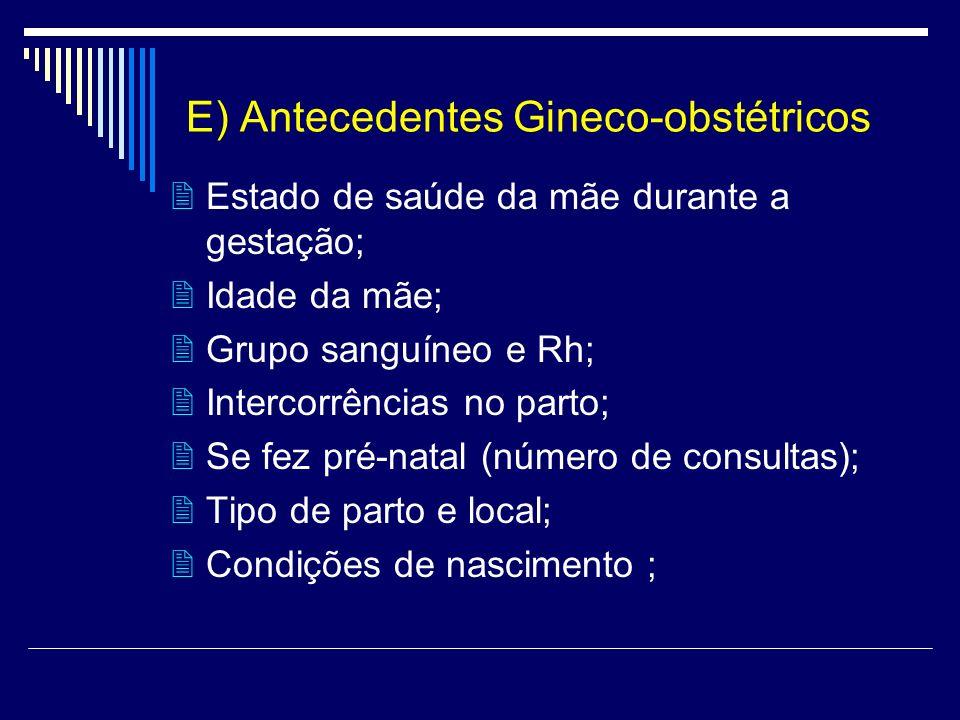 E) Antecedentes Gineco-obstétricos Estado de saúde da mãe durante a gestação; Idade da mãe; Grupo sanguíneo e Rh; Intercorrências no parto; Se fez pré