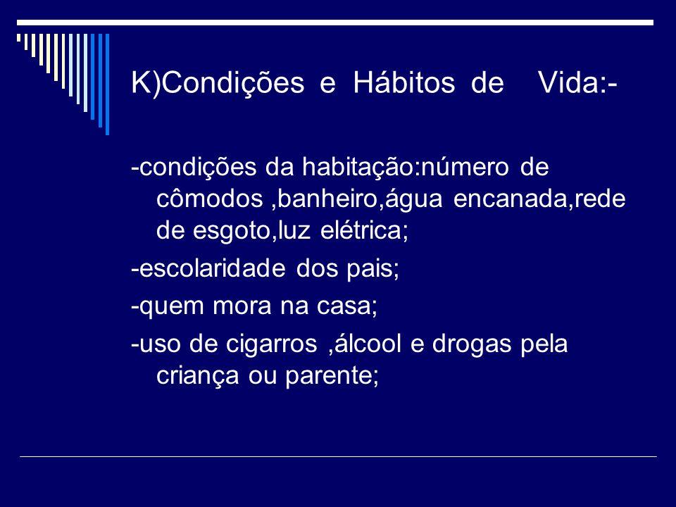 K)Condições e Hábitos de Vida:- -condições da habitação:número de cômodos,banheiro,água encanada,rede de esgoto,luz elétrica; -escolaridade dos pais;