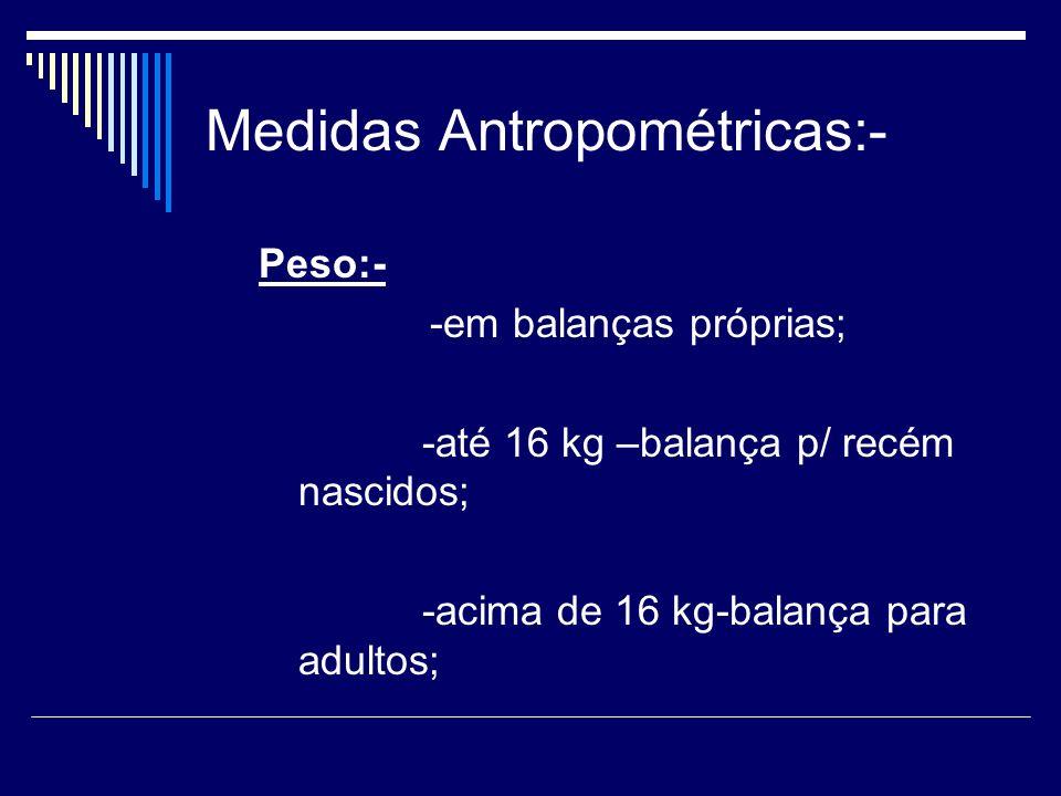 Medidas Antropométricas:- Peso:- -em balanças próprias; -até 16 kg –balança p/ recém nascidos; -acima de 16 kg-balança para adultos;