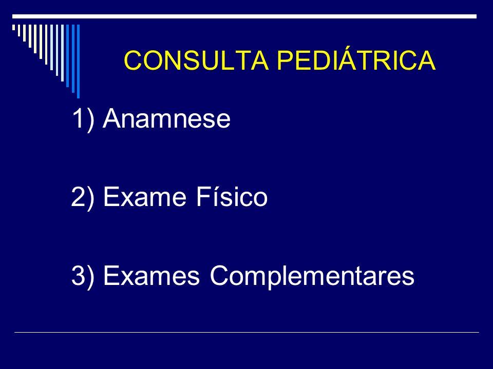 CONSULTA PEDIÁTRICA 1) Anamnese 2) Exame Físico 3) Exames Complementares