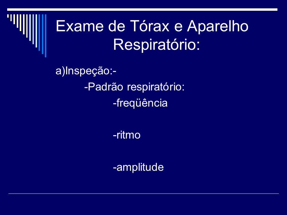 Exame de Tórax e Aparelho Respiratório: a)Inspeção:- -Padrão respiratório: -freqüência -ritmo -amplitude