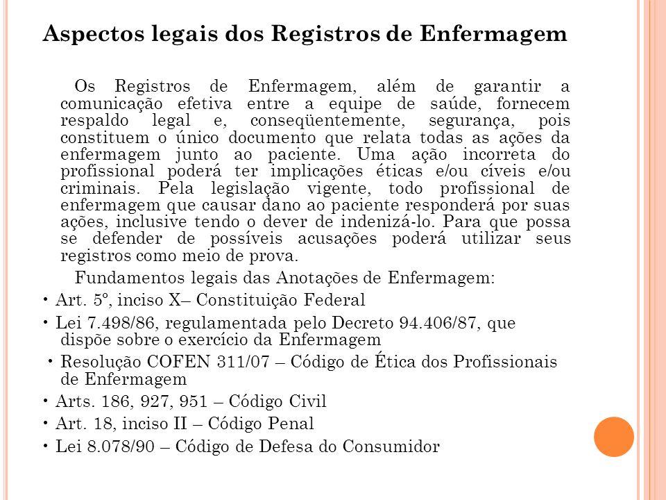 Anotações de enfermagem Para Fernandes et al.
