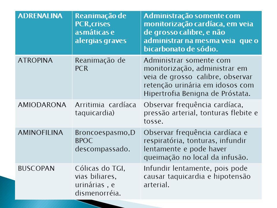ADRENALINAReanimação de PCR,crises asmáticas e alergias graves Administração somente com monitorização cardíaca, em veia de grosso calibre, e não admi