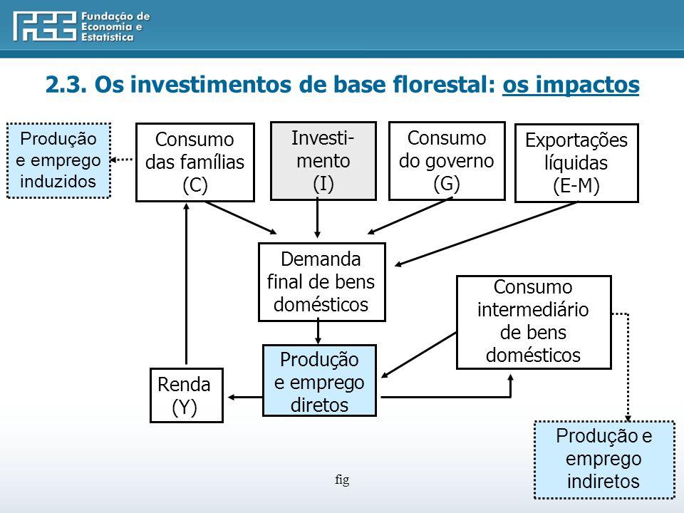fig Consumo das famílias (C) Investi- mento (I) Consumo do governo (G) Demanda final de bens domésticos Consumo intermediário de bens domésticos Produção e emprego diretos Renda (Y) Exportações líquidas (E-M) Produção e emprego indiretos Produção e emprego induzidos 2.3.