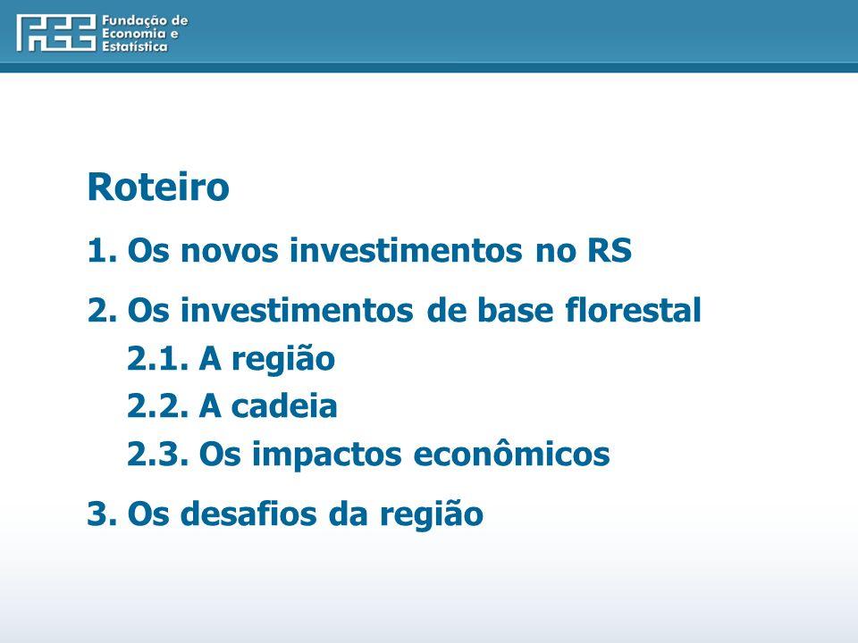 Roteiro 1.Os novos investimentos no RS 2. Os investimentos de base florestal 2.1.