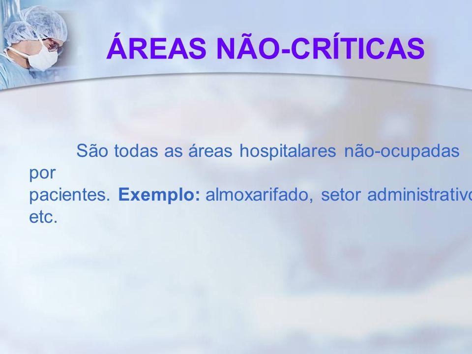 São todas as áreas hospitalares não-ocupadas por pacientes. Exemplo: almoxarifado, setor administrativo etc. ÁREAS NÃO-CRÍTICAS
