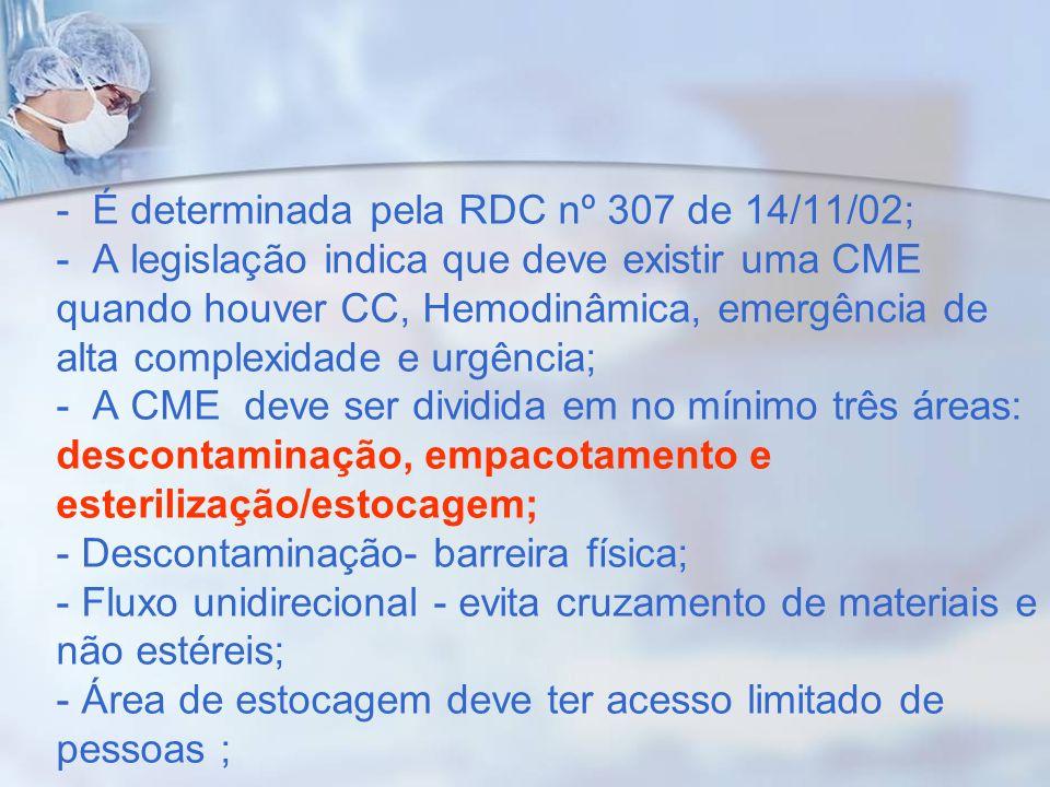 - É determinada pela RDC nº 307 de 14/11/02; - A legislação indica que deve existir uma CME quando houver CC, Hemodinâmica, emergência de alta complex
