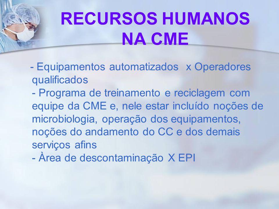 RECURSOS HUMANOS NA CME - Equipamentos automatizados x Operadores qualificados - Programa de treinamento e reciclagem com equipe da CME e, nele estar