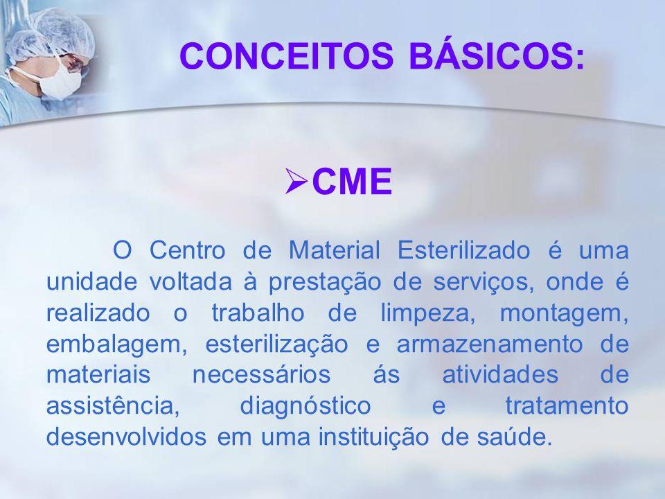 CME O Centro de Material Esterilizado é uma unidade voltada à prestação de serviços, onde é realizado o trabalho de limpeza, montagem, embalagem, este