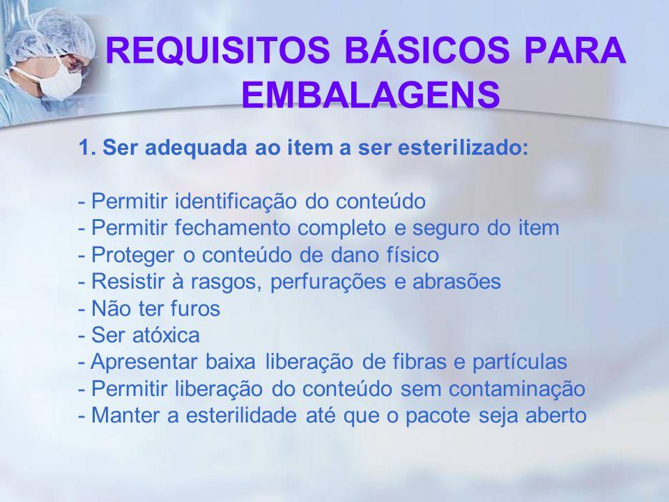 REQUISITOS BÁSICOS PARA EMBALAGENS 1. Ser adequada ao item a ser esterilizado: - Permitir identificação do conteúdo - Permitir fechamento completo e s